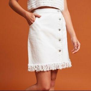 Pilcro & The Letterpress Fringe Denim Skirt NWT